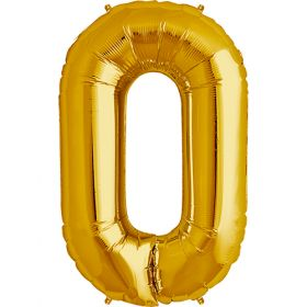 34 inch Gold Number 0 Foil Mylar Balloon