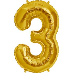34 inch Gold Number 3 Foil Mylar Balloon