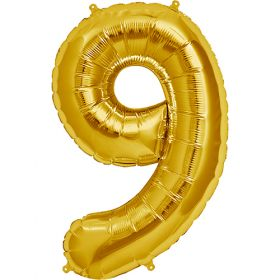 34 inch Gold Number 9 Foil Mylar Balloon