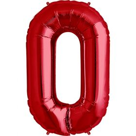 34 inch Red Number 0 Foil Mylar Balloon