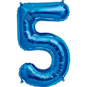 34 inch Blue Number 5 Foil Mylar Balloon
