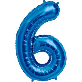 34 inch Blue Number 6 Foil Mylar Balloon