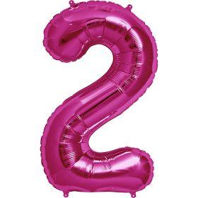 34 inch Magenta Number 2 Foil Mylar Balloon