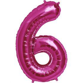 34 inch Magenta Number 6 Foil Mylar Balloon