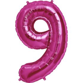 34 inch Magenta Number 9 Foil Mylar Balloon