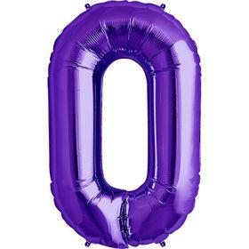 34 inch Purple Number 0 Foil Mylar Balloon
