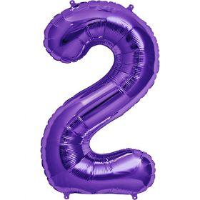 34 inch Purple Number 2 Foil Mylar Balloon