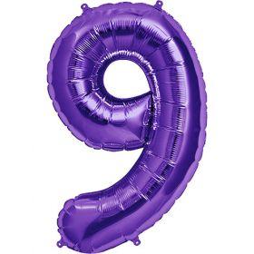 34 inch Purple Number 9 Foil Mylar Balloon
