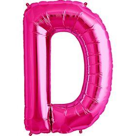 34 inch Magenta Letter D Foil Mylar Balloon