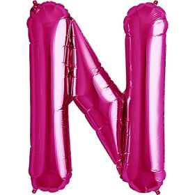 34 inch Magenta Letter N Foil Mylar Balloon