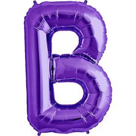 34 inch Purple Letter B Foil Mylar Balloon