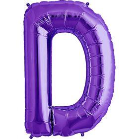 34 inch Purple Letter D Foil Mylar Balloon