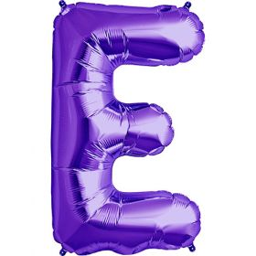 34 inch Purple Letter E Foil Mylar Balloon
