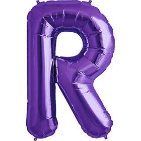 34 inch Purple Letter R Foil Mylar Balloon