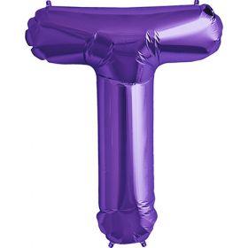 34 inch Purple Letter T Foil Mylar Balloon