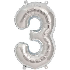 16 inch Silver Number 3 Foil Mylar Balloon