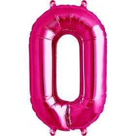 16 inch Magenta Number 0 Foil Mylar Balloon