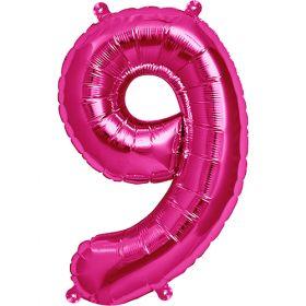 16 inch Magenta Number 9 Foil Mylar Balloon
