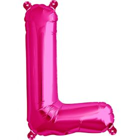16 inch Magenta Letter L Foil Mylar Balloon