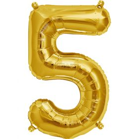 16 inch Gold Number 5 Foil Mylar Balloon