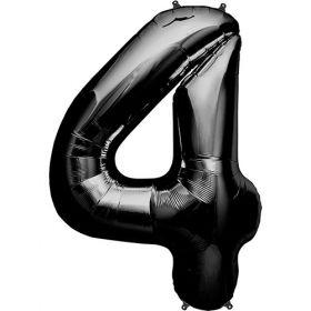 34 inch Black Number 4 Foil Mylar Balloon