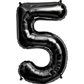 34 inch Black Number 5 Foil Mylar Balloon