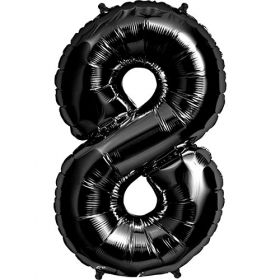 34 inch Black Number 8 Foil Mylar Balloon