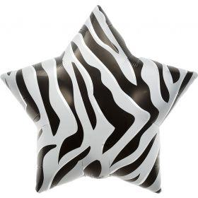 22 inch Black Zebra Stripe Star Foil Balloons