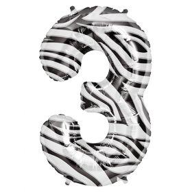 34 inch Zebra Stripe Number 3 Foil Mylar Balloon