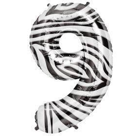 34 inch Zebra Stripe Number 9 Foil Mylar Balloon