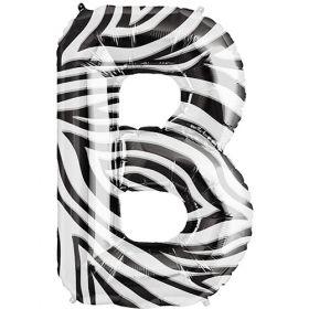 34 inch Zebra Stripe Letter B Foil Mylar Balloon