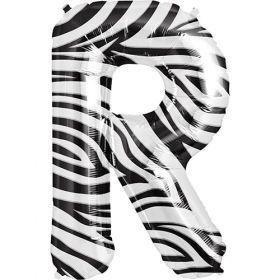 34 inch Zebra Stripe Letter R Foil Mylar Balloon