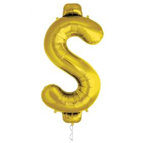 34 Inch Gold Dollar Sign Foil Mylar Balloon