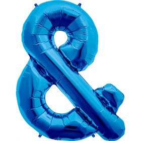 34 inch Blue Ampersand Foil Mylar Balloon