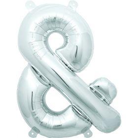 16 inch Silver Ampersand Foil Mylar Balloon