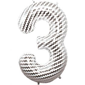 34 inch Chevron Print Number 3 Foil Mylar Balloon