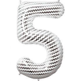 34 inch Chevron Print Number 5 Foil Mylar Balloon