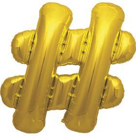 34 Inch Gold Hashtag Foil Mylar Balloon - Air Fill