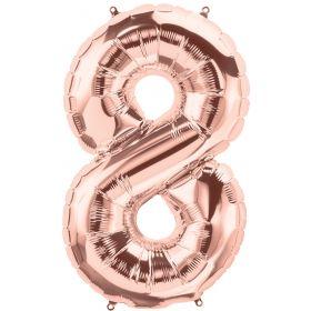 34 inch Rose Gold Number 8 Foil Mylar Balloon
