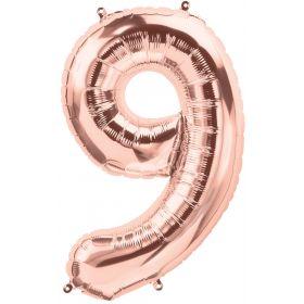 34 inch Rose Gold Number 9 Foil Mylar Balloon