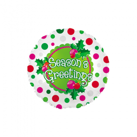18 inch Foil Mylar Season's Greetings Round Balloon