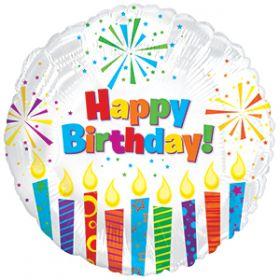 "18"" Foil Mylar Circle Happy Birthday Sparkling Candles Balloon"