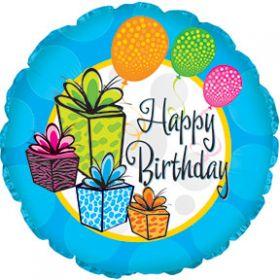 "18"" Foil Mylar Circle Happy Birthday Gifts Balloon"