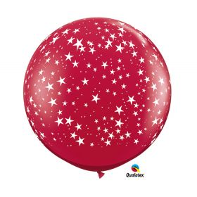 Qualatex Stars Around Ruby Red 36 inch Latex Balloons - 2 count