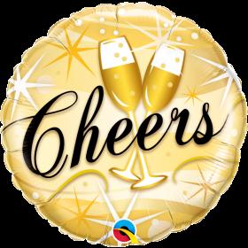 Qualatex 18 inch Foil Mylar Happy New Year Cheers Starburst Round Balloon