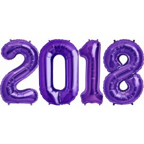 34 inch Purple Foil 2018 Number Balloon Set