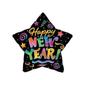 18 inch Foil Mylar Happy New Year Star Balloon - Colorful Confetti Black