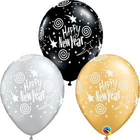Qualatex 11 inch Happy New Year Swirling Stars Special Assorted Latex Balloons - 50 count