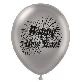 11 inch Happy New Year 2 Sided Silver Latex Balloons - 100 count