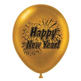 11 inch Happy New Year 2 Sided Gold Latex Balloons - 100 count